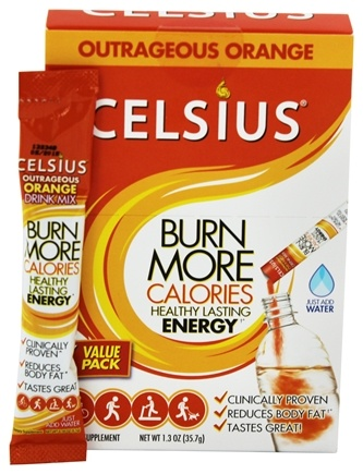 DROPPED: Celsius - Your Calorie Reducing Drink Outrageous Orange - 7 Packet(s)