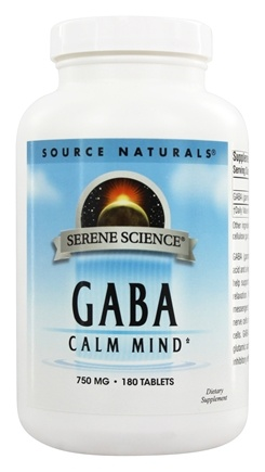 Source Naturals - GABA Gamma-Aminobutyric Acid 750 mg. - 180 Tablets