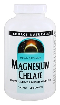 Source Naturals - Magnesium Chelate 100 mg. - 250 Tablets