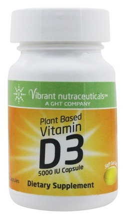 Global Health Trax (GHT) - Vitamin D3 Plant Based 5000 IU - 60 Capsules