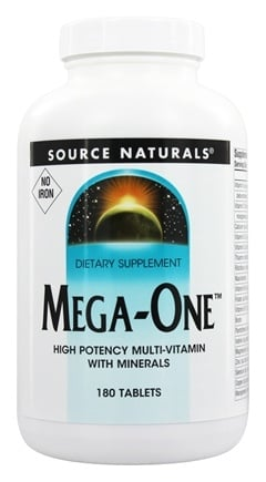 DROPPED: Source Naturals - Mega-One Multi-Vitamin Iron Free - 180 Tablets