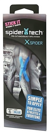 DROPPED: SpiderTech - X Spider Pre-Cut Kinesiology Tape System Blue - 6 Pack
