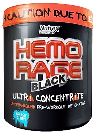 DROPPED: Nutrex - Hemo Rage Black Ultra Concentrate Bruisin' Berry 30 Servings - 9.35 oz. CLEARANCE PRICED