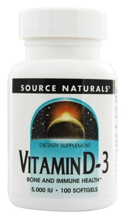 Source Naturals - Vitamin D-3 5000 IU - 100 Softgels