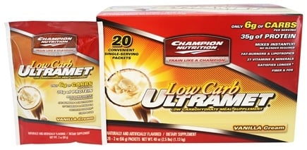 Champion Performance - Ultramet Low Carb Meal Supplement Vanilla Cream - 20 x 2 oz. Packets