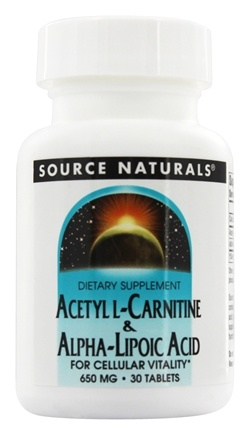Source Naturals - Acetyl L-Carnitine & Alpha-Lipoic Acid 650 mg. - 30 Tablets