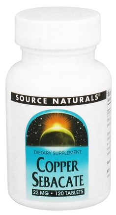 DROPPED: Source Naturals - Copper Sebacate 22 mg. - 120 Tablets CLEARANCE PRICED