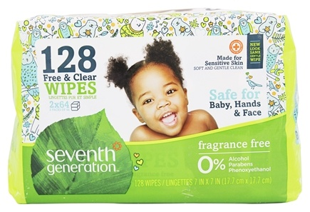 Seventh Generation - Chlorine Free Baby Wipes Refill Pack Unscented - 128 Wipe(s)