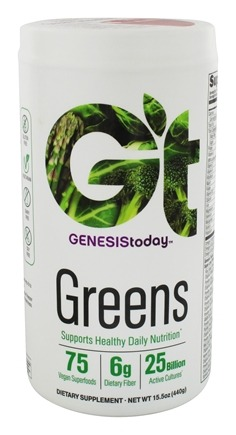 Genesis Today - Greens 25 Billion Probiotics Flax Seed & Spirulina - 15.5 oz. Formerly GenEssentials Greens
