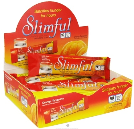 DROPPED: Slimful - Sinfully Delicious 90 Calorie Chew Bar Orange Tangerine - 12 x .92 oz(26g) Bars - CLEARANCE PRICED