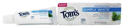 Tom's of Maine - Natural Toothpaste Simply White With Fluoride Clean Mint - 0.9 oz.