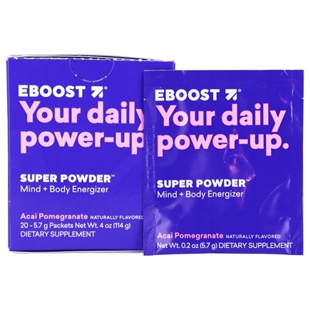 DROPPED: Eboost - Natural Energy Acai Pomegranate - 20 x .25 oz (7.1g) Packets - CLEARANCE PRICED