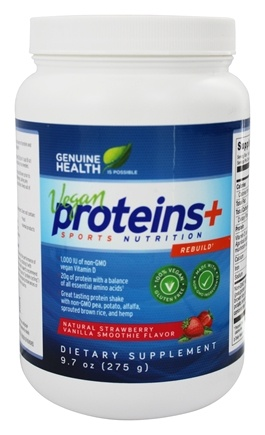Genuine Health - Vegan Proteins+ Sports Nutrition Natural Strawberry Vanilla Smoothie - 9.7 oz.