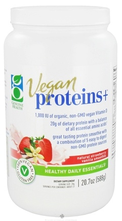 DROPPED: Genuine Health - Vegan Proteins+ Natural Smoothie Strawberry Vanilla - 20.7 oz. CLEARANCE PRICED