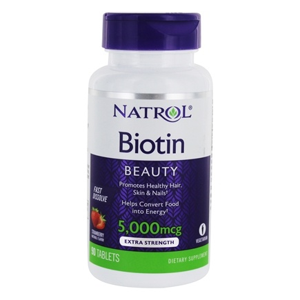 Natrol - Biotin Fast Dissolve Strawberry Flavor 5000 mcg. - 90 Tablets