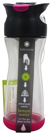 DROPPED: Full Circle - Lemon Water On-the-Go Glass Bottle Raspberry Pink - 20 oz.