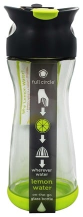 DROPPED: Full Circle - Lemon Water On-the-Go Glass Bottle Lime Green - 20 oz.