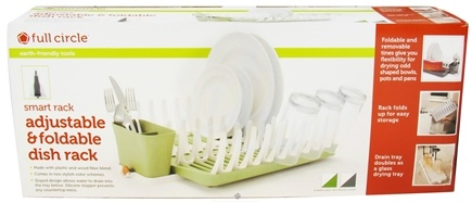 DROPPED: Full Circle - Smart Rack Adjustable & Foldable Dish Rack Grass Green - CLEARANCE PRICED