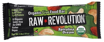 DROPPED: Raw Revolution - Organic Live Food Bar with Sprouted Flax Seeds Spirulina Dream - 12 x 1.8 oz. Bars - (formerly Spirulina and Cashew)