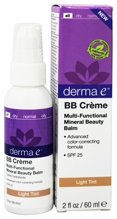 Derma-E - Evenly Radiant BB Creme Multi-Functional Mineral Beauty Balm Fragrance Free Light Tint 25 SPF - 2 oz.