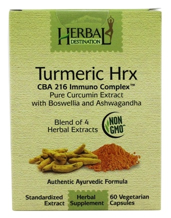 Herbal Destination - Turmeric Hrx CBA 216 Immuno Complex 1100 mg. - 60 Vegetarian Capsules