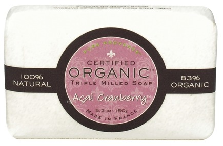 DROPPED: Pure Provence - Triple Milled Soap Certified Organic Acai Cranberry - 5.3 oz. CLEARANCE PRICED