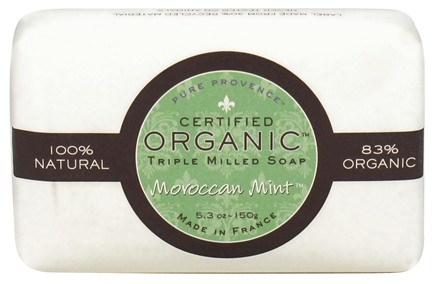 DROPPED: Pure Provence - Triple Milled Soap Certified Organic Moroccan Mint - 5.3 oz. CLEARANCED PRICED