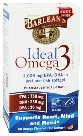Barlean's - Ideal Omega3 Orange Flavored - 60 Softgels
