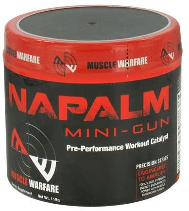 DROPPED: Muscle Warfare - Napalm Mini-Gun Pre-Performance Workout Catalyst Fruit Punch 30 Servings - 119 Grams