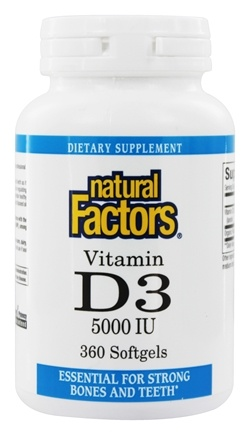 Natural Factors - Vitamin D3 5000 IU - 360 Softgels