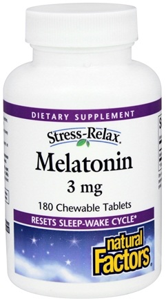 Natural Factors - Stress-Relax Melatonin 3 mg. - 180 Chewable Tablets