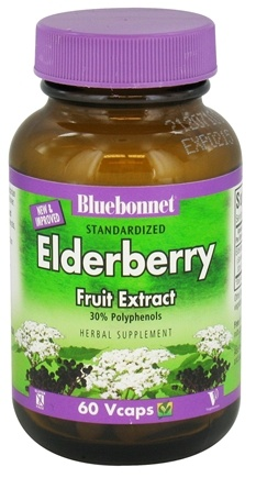 DROPPED: Bluebonnet Nutrition - Standardized Elderberry Fruit Extract 150 mg. - 60 Vegetarian Capsules CLEARANCE PRICED