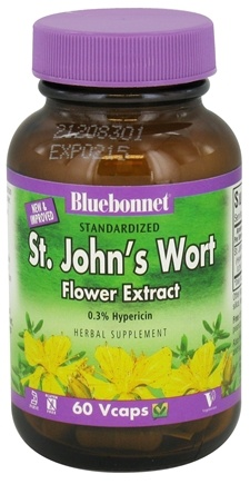 DROPPED: Bluebonnet Nutrition - Standardized St. John's Wort Flower Extract 300 mg. - 60 Vegetarian Capsules CLEARANCE PRICED
