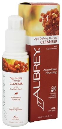 Aubrey Organics - Age-Defying Therapy Cleanser with Sea Buckthorn - 3.4 oz. (Formerly Green Tea Facial Cleansing Lotion)