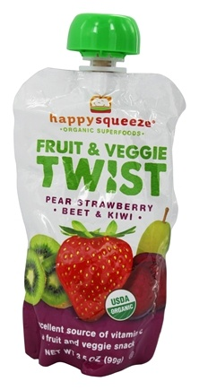 DROPPED: Happy Family - Happy Squeeze Organic SuperFoods Fruit and Veggie Twist Strawberry Kiwi Beet - 3.5 oz.
