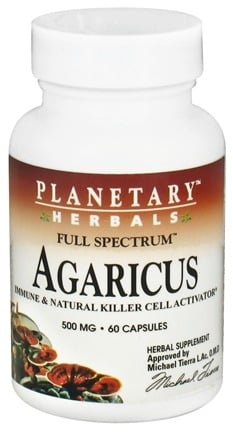 DROPPED: Planetary Herbals - Agaricus Full Spectrum 500 mg. - 60 Capsules CLEARANCE PRICED