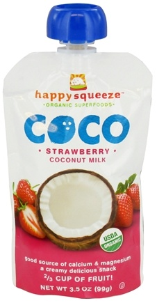 DROPPED: HappyFamily - Happy Squeeze Organic SuperFoods Coco Coconut Milk Strawberry - 3.5 oz. CLEARANCE PRICED