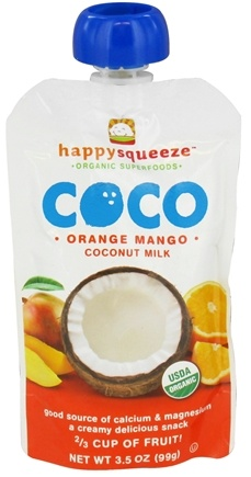 DROPPED: Happy Family - Happy Squeeze Organic SuperFoods Coco Coconut Milk Orange Mango - 3.5 oz. CLEARANCE PRICED