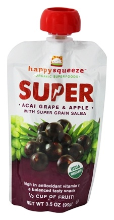 DROPPED: Happy Family - Happy Squeeze Organic SuperFoods Super Acai Grape & Apple - 3.5 oz.