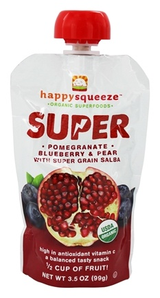 Happy Family - Happy Squeeze Organic SuperFoods Super Pomegranate Blueberry & Pear - 3.5 oz.