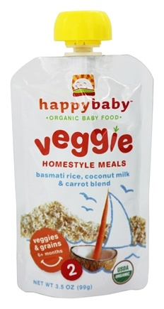 DROPPED: HappyBaby - Organic Baby Food Stage 2 Veggie Homestyle Meals Ages 6+ Months Basmati Rice, Coconut Milk & Carrot Blend - 3.5 oz. CLEARANCE PRICED