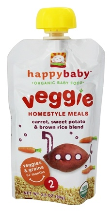 DROPPED: HappyBaby - Organic Baby Food Stage 2 Veggie Homestyle Meals Ages 6+ Months Carrot, Sweet Potato & Brown Rice Blend - 3.5 oz.