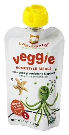 DROPPED: HappyBaby - Organic Baby Food Stage 2 Veggie Homestyle Meals Ages 6+ Months Sweet Peas, Green Beans & Spinach - 3.5 oz. CLEARANCE PRICED