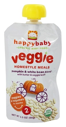 DROPPED: HappyFamily - Organic Baby Food Stage 2 Veggie Homestyle Meals Ages 6+ Months Pumpkin & White Bean Blend - 3.5 oz. CLEARANCE PRICED