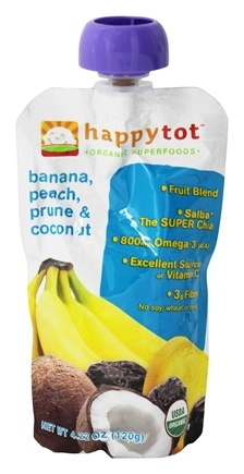 DROPPED: HappyFamily - Happy Tot Organic SuperFoods Banana, Peach, Coconut & Prune - 4.22 oz.