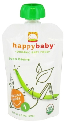 DROPPED: HappyBaby - Organic Baby Food Stage 1 Starting Solids Green Beans - 3.5 oz. CLEARANCE PRICED