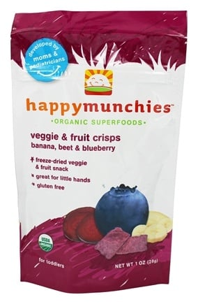 DROPPED: HappyFamily - Happy Munchies Organic SuperFoods Veggie and Fruit Crisps Banana, Beet, & Blueberry - 1 oz.