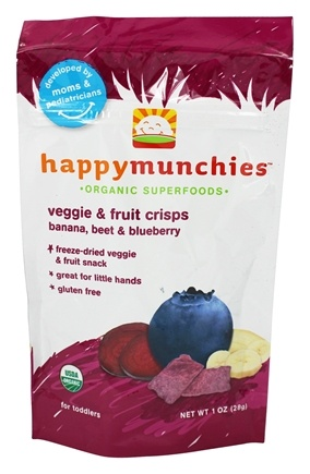 DROPPED: HappyBaby - Happy Munchies Organic SuperFoods Veggie and Fruit Crisps Banana, Beet, & Blueberry - 1 oz.