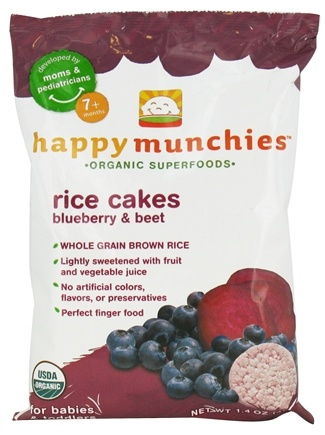 DROPPED: HappyBaby - Happy Munchies Organic SuperFoods Rice Cakes Blueberry & Beet - 1.4 oz.