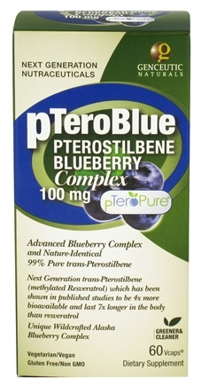 DROPPED: Genceutic Naturals - pTeroBlue Pterostilbene Blueberry Complex 100 mg. - 60 Vegetarian Capsules CLEARANCE PRICED